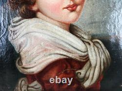 TABLEAU ANCIEN HUILE SUR TOILE DANS LE GOÛT DU XVIIIe AVEC CADRE EPOQUE L. XV