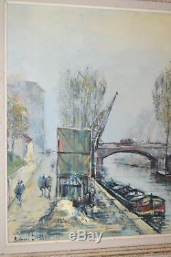 TABLEAU HUILE SUR TOILE CANAL SAINT MARTIN PARIS signé Raymond BESSE 1950 cadre