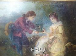 TABLEAU HUILE SUR TOILE. LA CAGE A L OISEAU DE RAOUL DUGARDIER 1871 1952