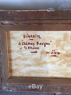Tableau Huile Sur Toile (le Chateau Basque Basque Biarritz) Par Jiva