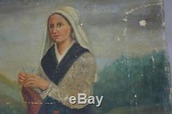 TABLEAU PEINTURE A L'HUILE PAYSANNE POITEVINE19ème ANTIQUE OIL PAINTING 19th