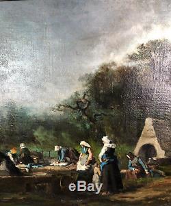 TABLEAU / PEINTURE / HUILE SUR TOILE DU 19e LES LAVANDIÈRES SIGNÉE 81X54CM