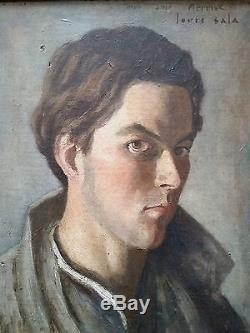 tableau peinture huile sur toile portrait jeune homme mermoz louis sala art deco. Black Bedroom Furniture Sets. Home Design Ideas
