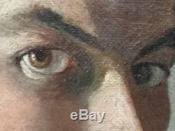 TABLEAU PEINTURE HUILE SUR TOILE PORTRAIT JEUNE HOMME MERMOZ Louis SALA ART DECO