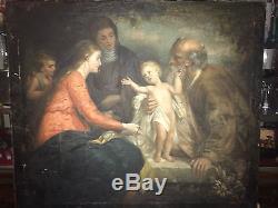 TABLEAU VIERGE A L ENFANT JESUS HUILE SUR TOILE PEINTURE MADONNE