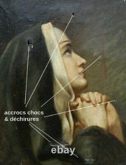 TABLEAU XIXe. A RESTAURER. JEUNE RELIGIEUSE EN PRIÈRE. STYLE PROCHE DE NAVEZ