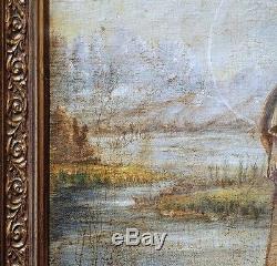 TRISTE VIERGE DE RENAISSANCE AU PAYSAGE huile sur toile 95 x 71cm