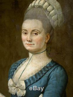 T. BEAU TABLEAU PORTRAIT DE DAME DE QUALITE XVIIIème EP. LOUIS XVI HUILE /TOILE