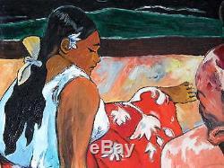 Tableau 1940 Femmes Tahitiennes Sur La Plage D'après Gauguin Huile Sur Toile