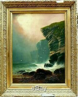 Tableau 19ème Marine signé Liddell On The Durham Coast écosse Scotland