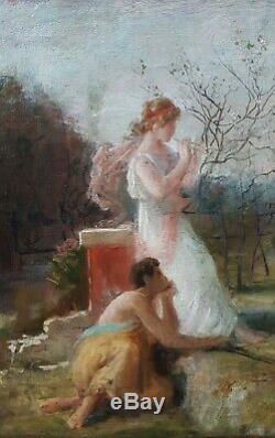 Tableau 19ème VIMONT esquisse allégorie décoration amours berger grec