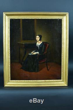 Tableau ANCIEN Portrait Romantique Femme à la lecture Costume Troubadour Devéria