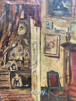 Tableau Ancien Ecole Française Atelier Dartiste Interieur Vers 1900