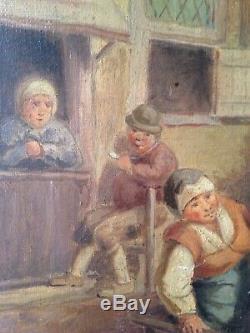 Tableau Ancien Ecole Française XIXe La Fête villageoise Huile sur Toile Signée