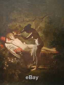 Tableau Ancien Huile Amour et Psyché Nu Endormi Femme Libellule Clair-Oscur XIXe
