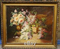 Tableau Ancien Huile Bouquet de Fleurs Nature morte HENRI CAUCHOIS XIXe Rouen