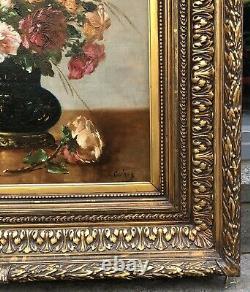 Tableau Ancien Huile Bouquet de Fleurs Roses Eugène Henri CAUCHOIS (1850-1911)