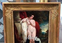 Tableau Ancien Huile JOHN WOOD (1801-1870) Nu Féminin XIXe 1840 Cadre Empire