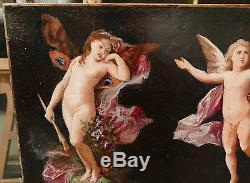 Tableau Ancien Huile Les 2 Anges Putti Nus Flambeau Fleurs HENRI PICOU XIXe