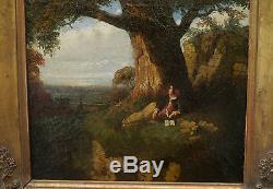 Tableau Ancien Huile Paysage Arbre Femme TONY DE BERGUE XIXe 1844 Barbizon