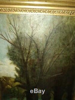Tableau Ancien Huile Paysage Arbres Rivière XIXe Signé