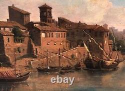 Tableau Ancien Huile Paysage Port Quai Bateaux Village Italie XIXe Port Italien