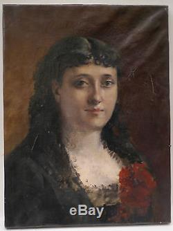 Tableau Ancien Huile Portrait Jeune Femme 1880 XIXe Proche MANET Berthe Morisot