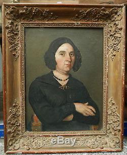 Tableau ancien huile romantique portrait femme xixe 1840 for Tableau style romantique