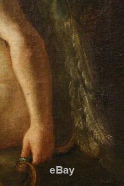 Tableau Ancien / Huile Sur Toil Non Signé Cupid Encadré Ecole Italienne