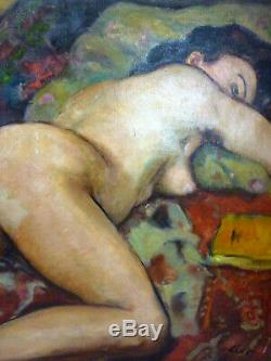 Tableau Ancien Huile Sur Toile Nu Feminin Allonge Gustave Lino 1893/1961