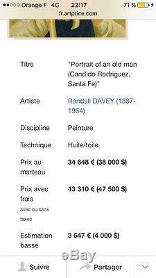 Tableau Ancien Huile Sur Toile Signée (Randall Davey)(1887-1964) Cote Énorme