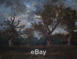 Tableau Ancien Huile Toile Barbizon Paysage De Foret Porte une signature Corot