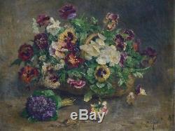 Tableau Ancien Huile Toile Bouquet Fleur Alexandre Jacques Chantron (1842-1918)