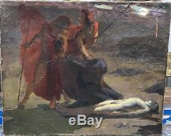 Tableau Ancien LOUIS BILLOTEY (1883-1940) Guerrier Homme Nu Mort c. 1905