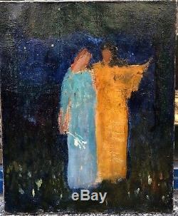 Tableau Ancien LOUIS BILLOTEY Scène Symboliste Nocturne Fleurs Personnages 1900