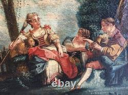 Tableau Ancien Partie Peinte De Trumeau XVIII Le Joueur De Cornemuse. 82x51cm HC