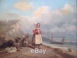 Tableau Ancien XIXe Dans le gout de Lacroix de Marseille Huile sur toile Marine
