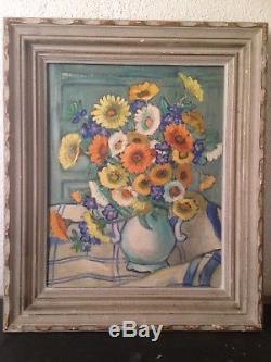 Tableau Ancien XXe Bouquet de fleurs Huile c1930 Dans le gout de Charles Camoin