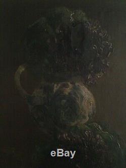 Tableau Ancien fin XIXe Bouquet de fleurs Violettes Huile sur toile signée