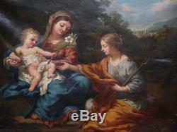 Tableau Ancien huile Religieux Vierge Jesus Ste Martine Pierre De Cortone 1870