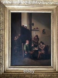 Tableau Ancien, scène de taverne XIX ème, école flamande