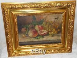 Tableau Ancienne Peinture Huile Toile Nature Morte Aux Fruits Signée Jules Ragot