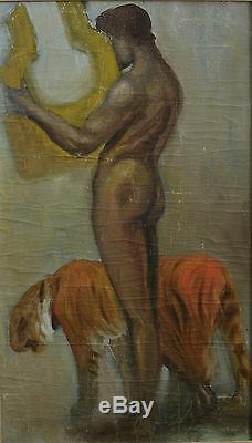 Tableau Art Deco Academie Portrait Nu Au Tigre Lyre Symboliste Sv Paul Jouve X2