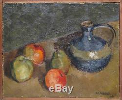 Tableau Belle nature morte aux pommes datée de 1931 signée A. Laurent