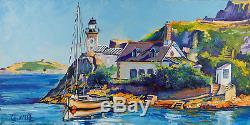 Tableau De Cedanne, Ile Louet, Bretagne, Peinture Huile Et Acrylique Au Couteau