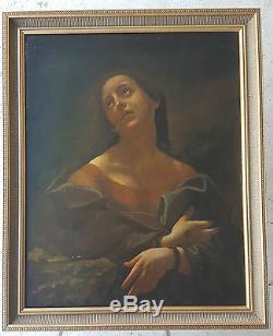 Tableau Grande Huile Sur Toile Xixe 19e Portrait Femme Peinture Oil