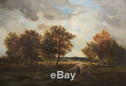 Tableau HST 1877 Barbizon C. Renauld / Watelin Paysanne à l'Entrée du bois