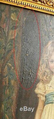 Tableau HUILE sur TOILE 1900's Signe PORTRAIT FILLETTE d'apres Charles GARLAND