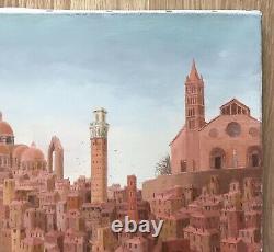 Tableau Huile Art Naïf Sophie Strouvé Paysage Ville Architecture Italie XXe