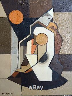 Tableau Huile Charles MERANGEL (1908-1993) cubiste abstrait ecole de paris